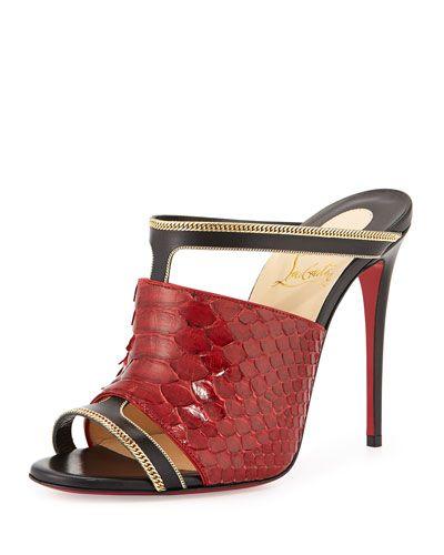 X2PRM Christian Louboutin Akenana Python Red Sole Mule Sandal, Black/Red