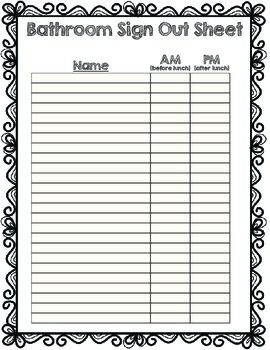 I made this bathroom sign out sheet for the beginning of the year before my kiddos are comfortable reading our analog clock. Students can put a checkmark in the AM or PM box. Enjoy!