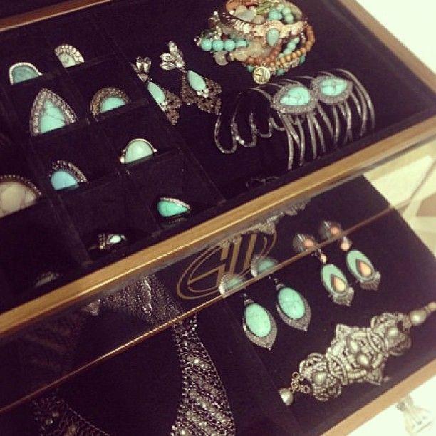 SAMANTHA WILLS - Signature Jewellery Chest; Luxe Bohemian Jewellery Chest Turquoise Mirrored Jewelry