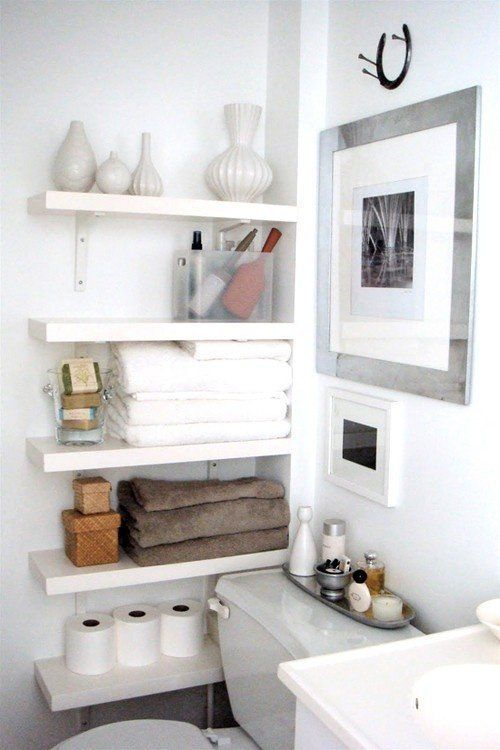 """"""" A clever small bathroom solution from The Order Obsessed. Shelves fitted into a corner next to the toilet provide a lot of storage in a little space."""" 7 Clever Renovating Ideas for a Small Bathroom"""
