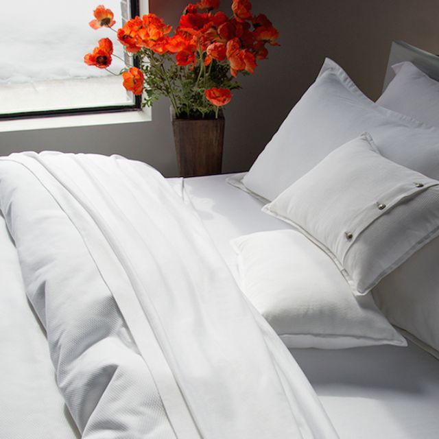 #Pique #Pure #White #duvetcover and Shams from TOILE Boutique #luxury #bedding #linens #montreal #westmount #designer
