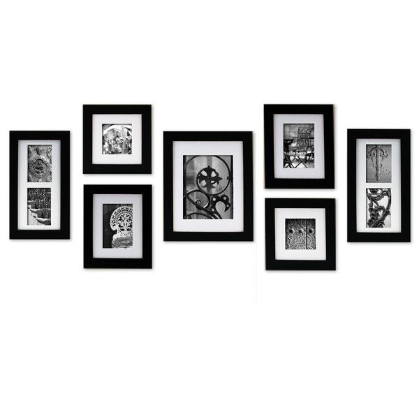 Simply create a professional wall display with This 7-piece 'Create A Gallery' wall frame set. Each frame features usable artwork- style right out of the box. Use the frames separately, lay out your own arrangement or let one of the hanging templates create a designer inspired gallery. Horizontal or vertical display capabilities so you can better personalize your arrangement. This wall grabber system ensures an easy to use hanging process. Hardware included.