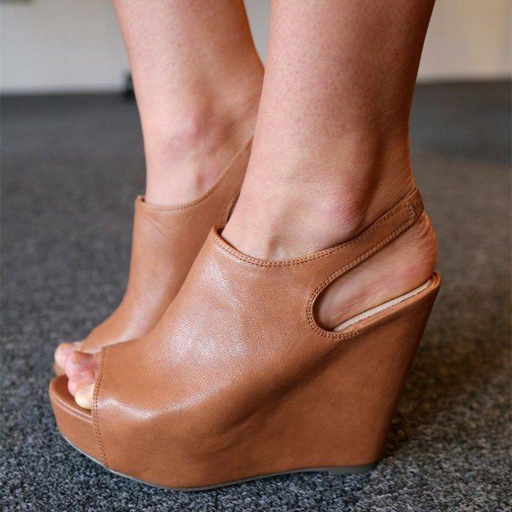9ede6a9f446 Tan Heels Peep Toe Slinback Vintage Platform Wedge Heel Pumps in ...