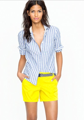 5 Ways To Re-Invent Your Mommy Wardrobe | Beauty | GalTimeFashion, Yellow Shorts, Style, J Crew, Cute Outfit, Jcrew, Chino Shorts, Bright Yellow, Bright Colors