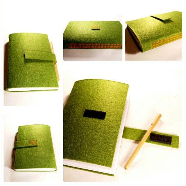 #de7tasarim felt handmade journal   elyapımı keçe yeşil defter (cırt cırtlı)