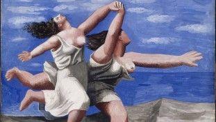 """""""Deux femmes courant sur la plage (La course)"""": guache sobre madeira compensada, de 1922"""