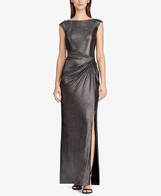 e3078c92fe2 Lauren Ralph Lauren Metallic Cap-Sleeve Gown Women - Dresses - Macy s