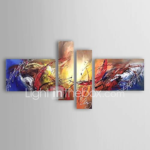Pictat manual Abstract orice formă,Modern Stil European Patru Panouri Canava Hang-pictate pictură în ulei For Pagina de decorare 5923797 2017 – $90.39