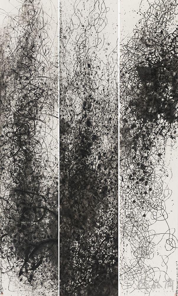 Wang Huangsheng(Chinese, b.1956)Moving Visions 140408 , ink on paper, 248 x 48 cm x 3, 2014 via