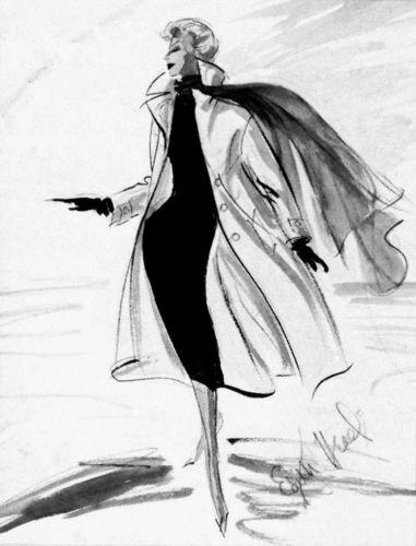 """Edith Head costume sketch for Kim Novak's wardrobe in """"Vertigo""""."""
