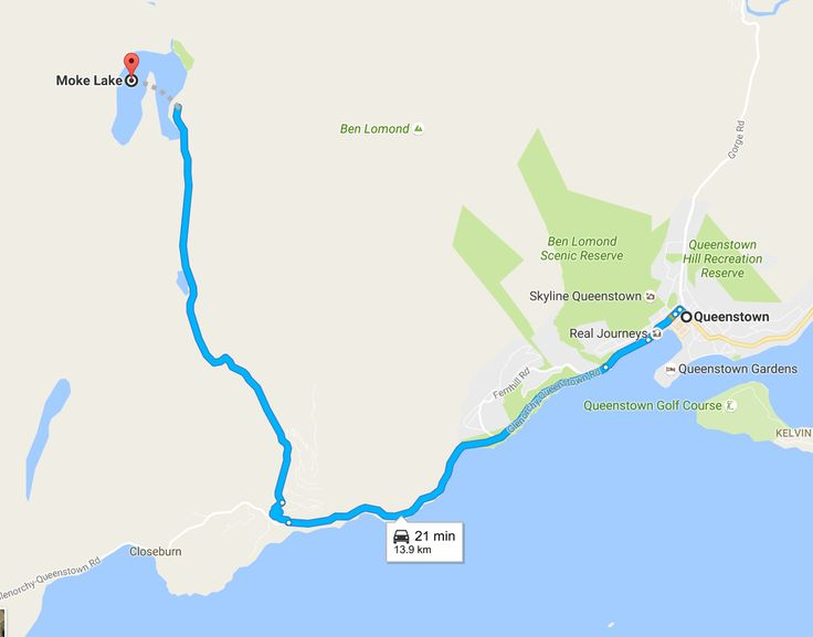 moke lake map how to get to queenstown