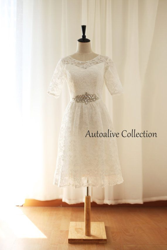 Vintage Inspired French Corded Lace Elbow/Quarter Sleeves Lace Wedding Dress Tea Length Short Outdoor Dress with Beading Sash
