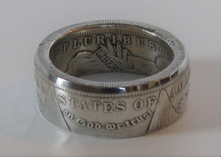 I personally handcraft these rings from genuine U.S. Morgan silver dollar coins. The Morgan dollar was made using 90% pure silver and minted from 1878 to 1904, and then again in 1921. Imagine wearing