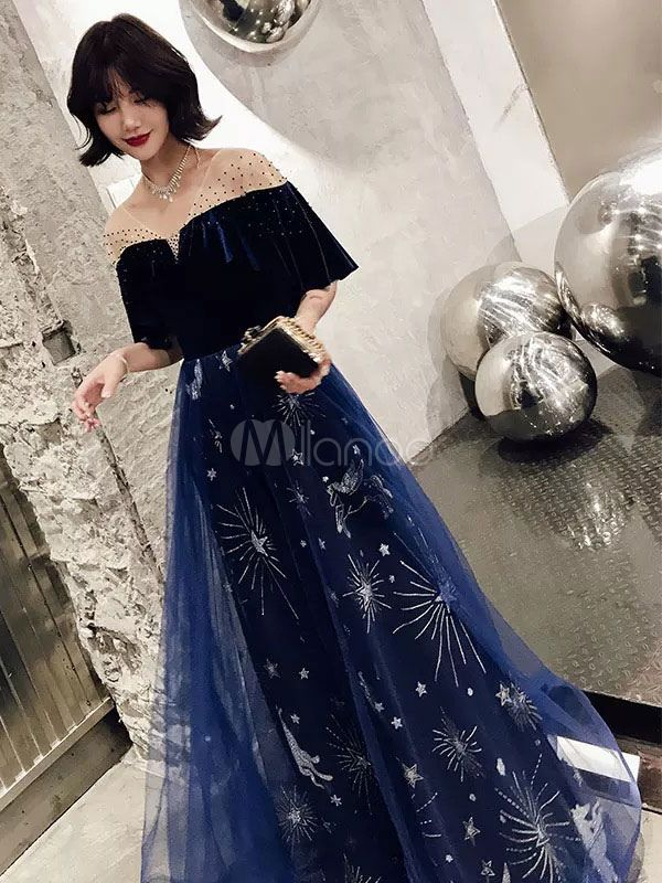 Dress Small Long Navy Blue Evening Gown 3 Piece Beautiful Embroidered