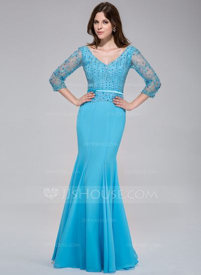 Evening Dresses - $189.99 - Trumpet/Mermaid V-neck Floor-Length Chiffon Tulle Charmeuse Evening Dress With Lace Beading Sequins (017025775) http://jjshouse.com/Trumpet-Mermaid-V-Neck-Floor-Length-Chiffon-Tulle-Charmeuse-Evening-Dress-With-Lace-Beading-Sequins-017025775-g25775?snsref=pt&utm_content=pt