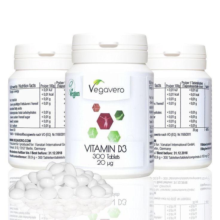 Vitamina D3 de Vegavero   300 comprimidos   20 mcg dosis óptima diaria   vegetal extraído de hongos   para huesos - piel - dientes   vegano calidad de Alemania