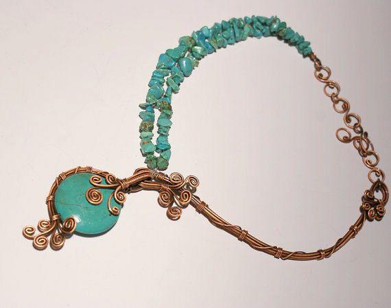 Collana di turchese turchese gioielli rame turchese collana