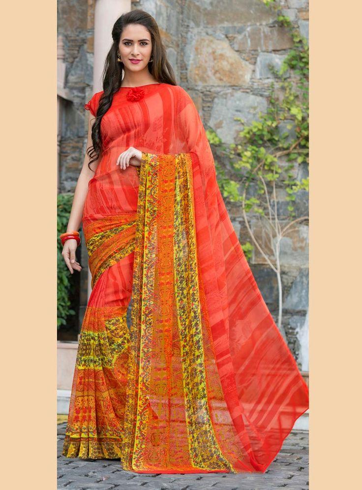 Orange Georgette Printed Saree With Blouse 80543