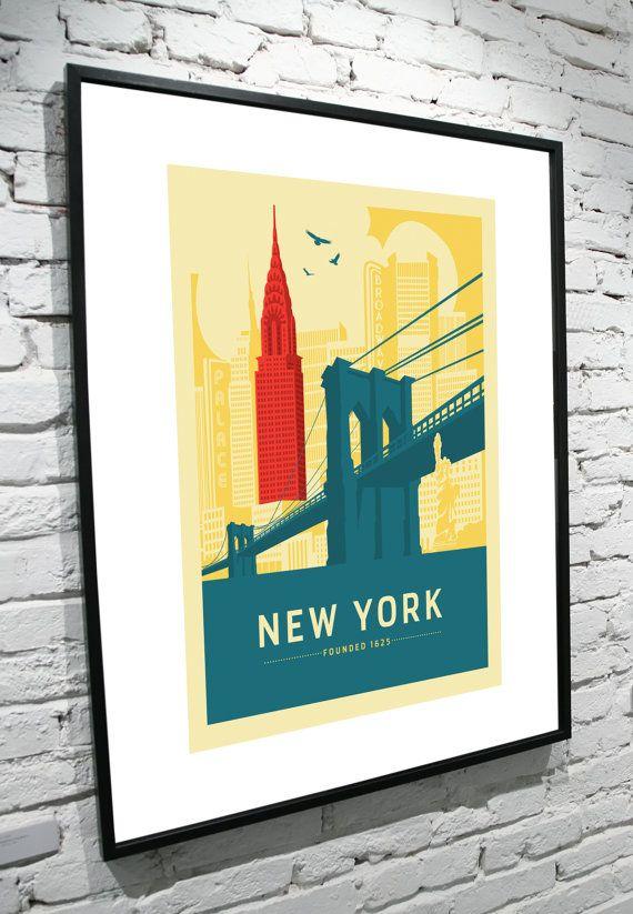 New York New York Skyline 8x10 Poster by TamiBohnDesign on Etsy
