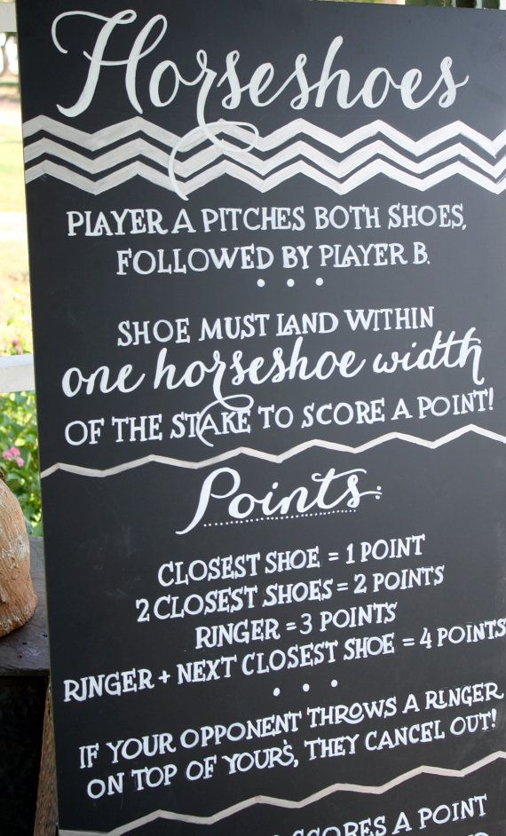 wooden instead of chalk  Custom Horseshoes Game Wedding Chalkboard Sign / by LBFStudio