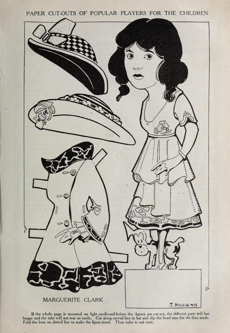 Paper doll of silent film actress Marguerite Clark from Motion Picture Magazine