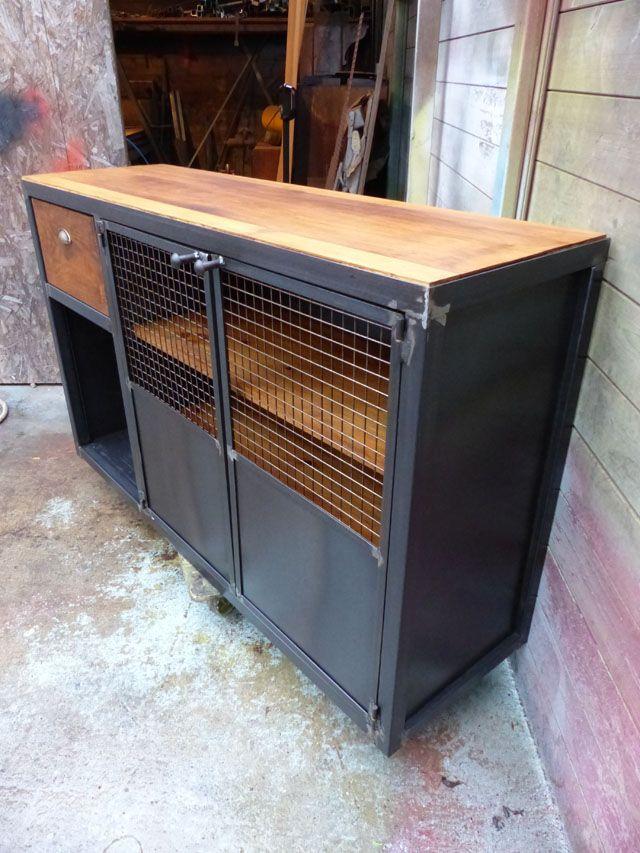 buffet industriel 2 portes 1 tiroir métal et bois sur mesure