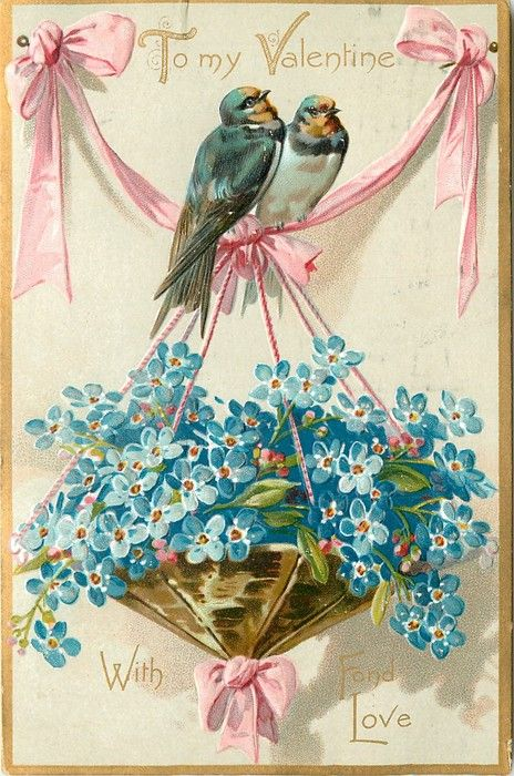 """""""To my Valentine, With Fond Love"""" Valentine's day postcard with 2 birds, pink ribbon, and blue forget-me-nots.  1908"""