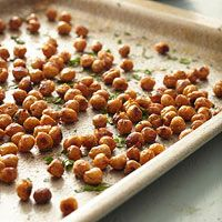 Roasted Garbanzo Beans Recipe -- crunchy alternative to potato chips.