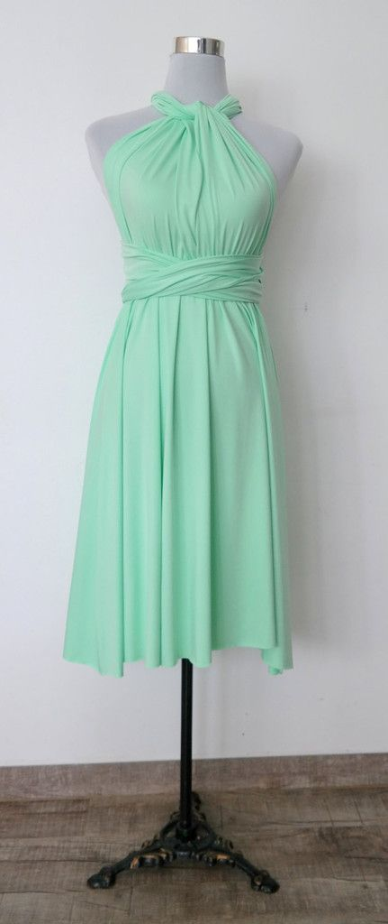 LilZoo Knee Length Convertible straight hem Infinity MultiWay Wrap Dress in Apple Mint Green Ships with Free Bandeau