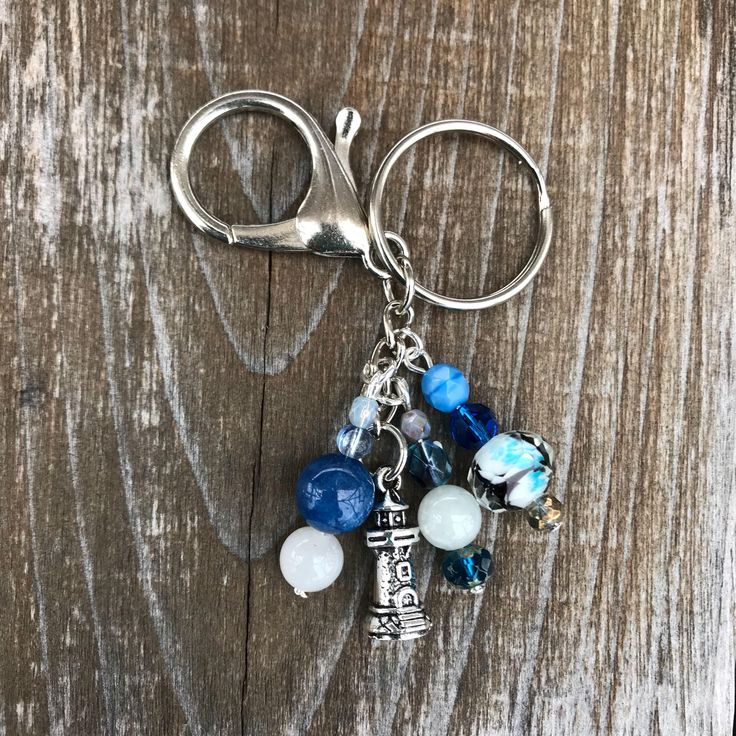 Keychains for Women, Lighthouse Keychain, Bag Charm, Lighthouse Gift, Purse Charm Beaded, Purse Charm for Handbags, Lighthouse, Gift for Her by SecretGardenByLaura on Etsy