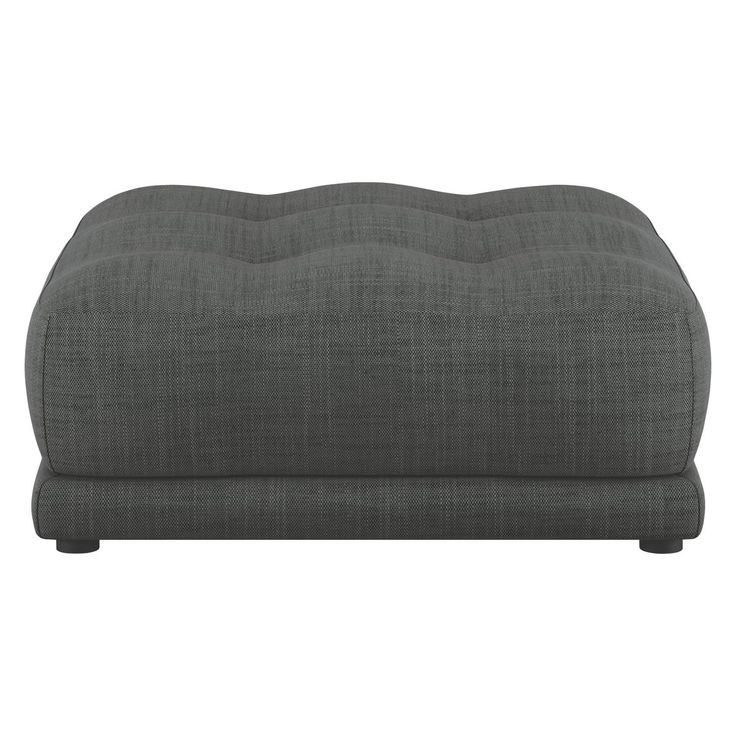 FORDE Charcoal Italian woven fabric footstool