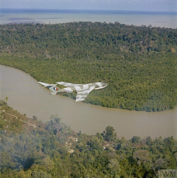 Handley Page Victor B.1A XH588 of the Honington Wing seen in flight over the Malaysian jungle in 1965 on an Operation Chamfrom deployment to RAF Tengah during the Indonesian Confrontation.