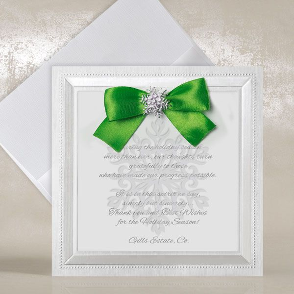 White Corporate Christmas Cards with Green Bow - Snowflake - Polina Perri