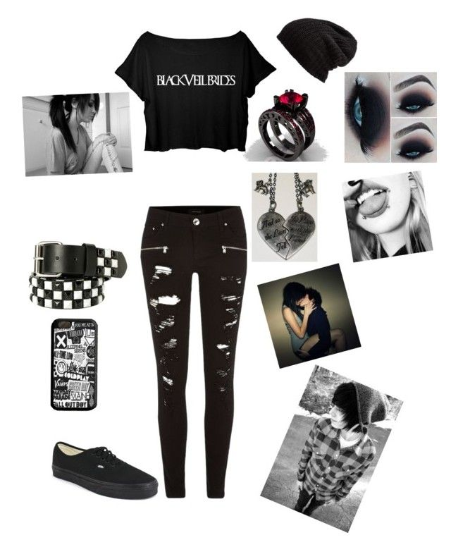 """""""Cute emo couple❤"""" by montalvotheresa on Polyvore featuring River Island, Vans and Free People"""