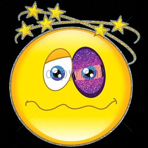 Womens T Shirt Emoji Happy Face Black Eye Short Sleeve and Long Sleeve 18649