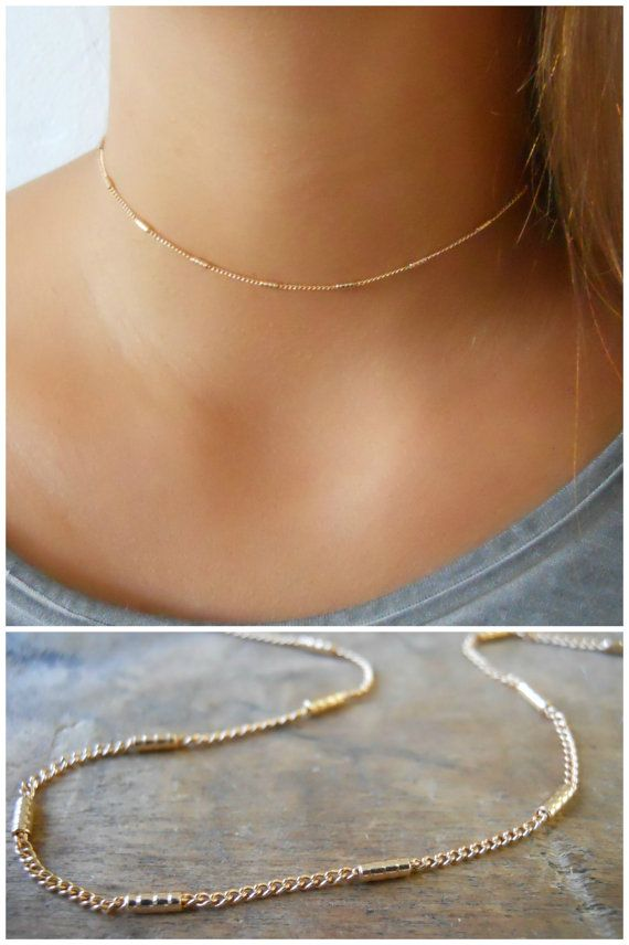 Gold Collar Necklace Gold Choker Necklace Delicate by annikabella