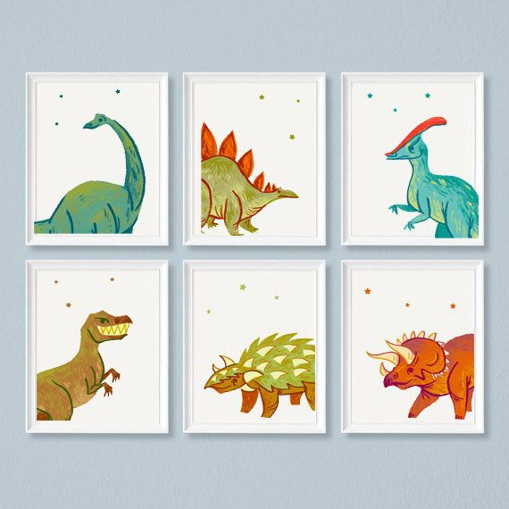 Dinosaur Printable Set Of 6 Dinosaur Bedroom Art Etsy Dinosaur Posters Dinosaur Printables Bedroom Art