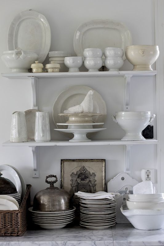 Jeanne d'Arc Living - French style with Nordic palette ... every blooming thing here: the ironstone, the tureens, the lion head bowls (!!), the silver dome, the black and white framed print... *sigh*