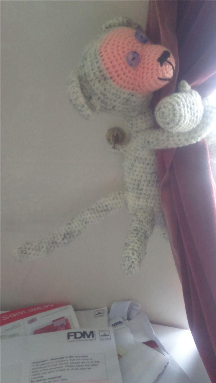 monkey amigurumi curtain tie back