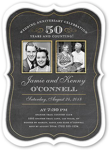 Wedding Anniversary Invitations: Countless Memories, Bracket Corners, Black