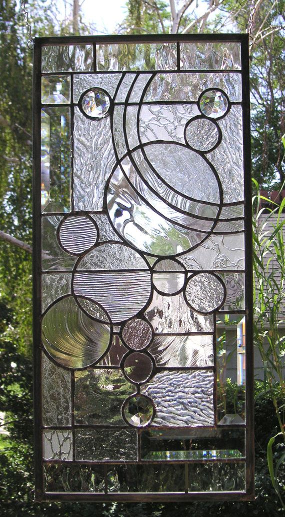 Stained glass window panel circle study arts and crafts style 10 quot x