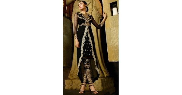 Real attractiveness can come out out of your dressing style and design with this Georgette Fabric Black Color Straight Cut Style Stitched Narrow Pants Suit with Dupatta. the lovely crystals stones & butta work work a substantial attribute of this attire.comes with matching dupatta and matching churi