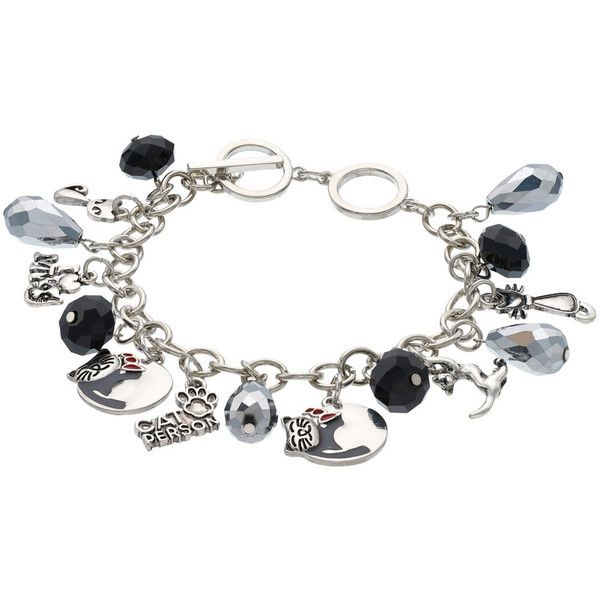Cat Person Charm Toggle Bracelet ($24) ❤ liked on Polyvore featuring jewelry, bracelets, black, fancy jewelry, toggle clasp bracelet, cat jewelry, toggle bracelet and charm bangle