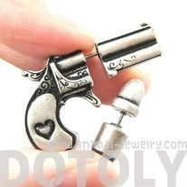 Unique Fake Gauge Gun and Bullet Stud Earrings in Silver - Thumbnail 2