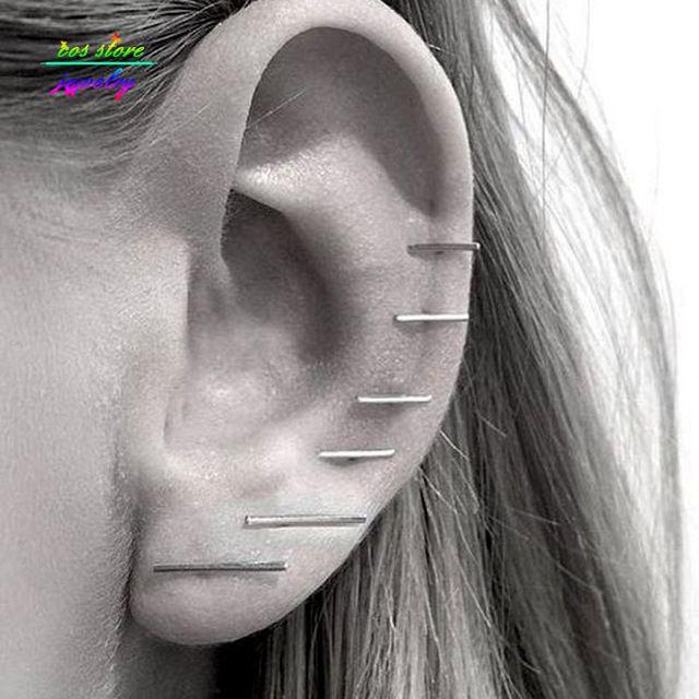 (3 Pair / Set) New Minimalist Single Gold / Silver / Black Plated Bar Stud Earrings For Women Jewelry Earring Party Earrings
