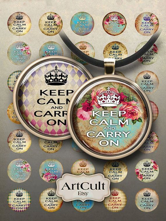 KEEP CALM and CARRY On - Digital Collage Sheet 1 inch size / 1.5 inch size Images by ArtCult $4.60