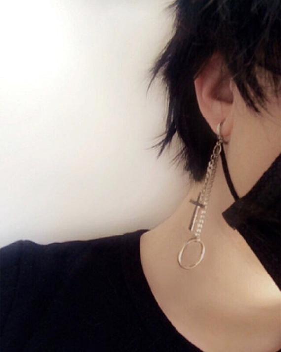 Got7 Halloween Fic Exhange 2020 Silver Cross Double Chain Hoop Earring ~ Kpop Jewelry BTS Y2K 90s