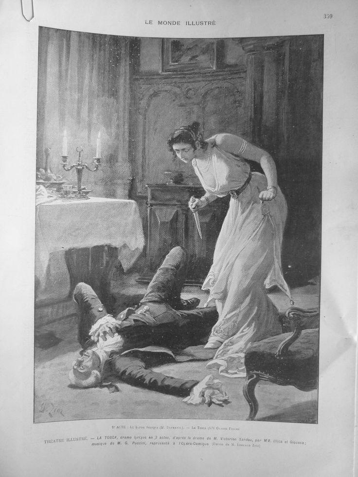 1903 MI10 LA Tosca Drame Sardou Puccini Couteau Baron Scarpia Opera Dessin Zier | eBay