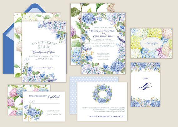 Hydrangea/Watercolor/Garden Wedding Invitations