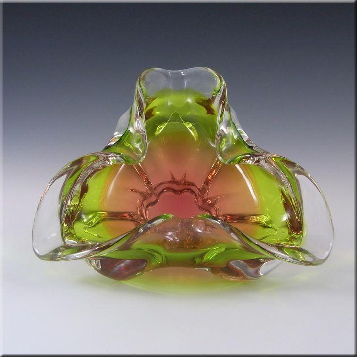 Chribska Czech Pink & Green Glass Bowl by Josef Hospodka - £29.99